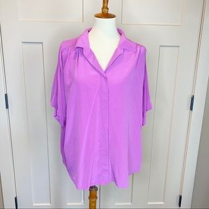 lafayette 148 new york short sleeve button silk